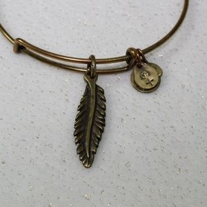 Alex and Ani Gold Feather Charm Bracelet